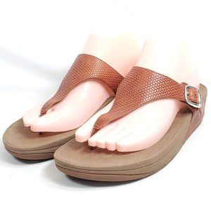 FitFlop Thong Sandals Womens Sz 7/38 Brown Leather